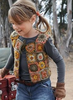 crochet vest in earthy tones