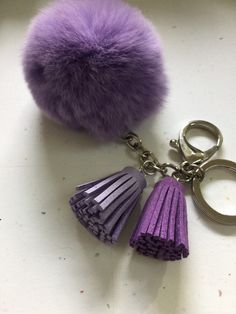 19.99$  Watch here - http://viukb.justgood.pw/vig/item.php?t=2aodni18363 - Fur pom pom keychain purple REX Rabbit bag charm ball with two gradient color le 19.99$