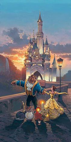 The Beast, Belle, the feather duster, Mrs. Potts, Cogsworth, Chip, and Lumiere outside the castle at sunset (Beauty and the Beast) art