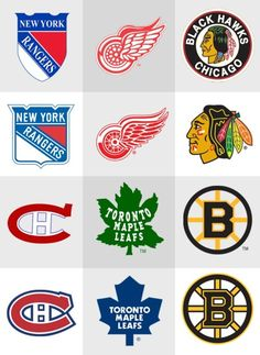 Original 6 logos - then and now Hockey Rules, Hockey Logos, Nhl Logos, Hockey Teams, Hockey Stuff, Sports Teams, Hockey Baby, Field Hockey, Ice Hockey