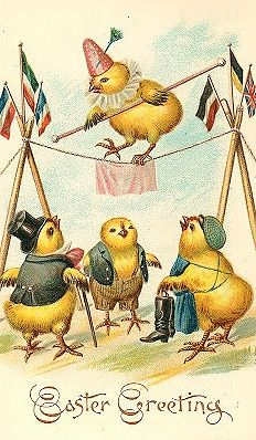 Vintage Easter postcard with dressed chicks, high wire act.