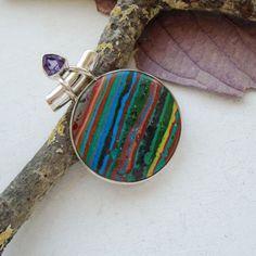 Amethyst-amp-Regenbogen-Calsilica-Anhaenger-925-Sterling-Silber