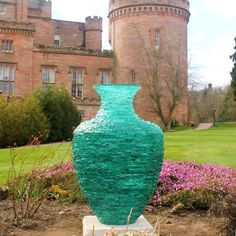 Glass urn sculpture, 'Catching the Light', by James Parker. Created by shaping and stacking many layers of glass. Fused Glass, Stained Glass, Cawdor Castle, Wine Bottle Lanterns, Gallery Lighting, Mosaic Pots, Turquoise Glass, Chelsea Flower Show, Stone Work