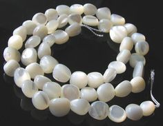 Creamy White Natural Mother of Pearl SHELL Nugget Bead STRAND 104376 - Premium Bead