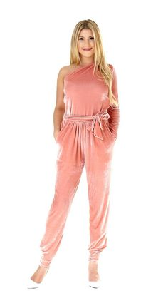 8c94ea916f3 Jumpsuit Blush Velvet One Shoulder One Sleeve Pockets Sash  pink  velvet   onesleeve