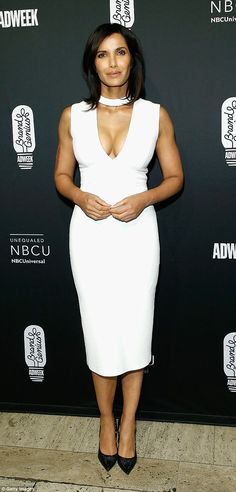 Dazzle: Padma Lakshmi, 47, dazzled in a form fitting gown for the 28th Annual Adweek Brand Genius Gala at Cipriani 25 Broadway on Wednesday