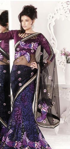 $102.87 Black Brasso and Net Lehenga Saree 18481 With Unstitched Blouse