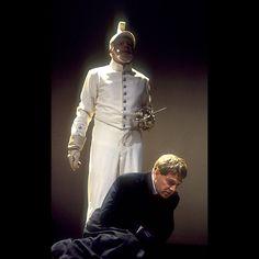 Hamlet (1992) - The ghost tells Hamlet how Old Hamlet was murdered.  Ghost - Clifford Rose Hamlet - Kenneth Branagh  Photo by Reg Wilson © RSC
