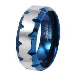 8MM High Polished Stainless Steel Light Comfort-Fit Ring with Blue Plated Faceted Edges For Men - Crazy2Shop: Jewelry