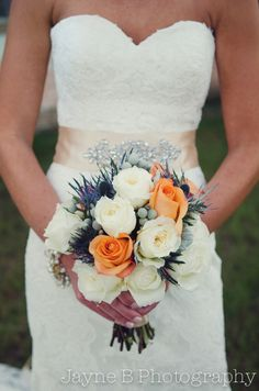 This Savannah wedding's theme was orange and blue!  The bouquet captured the colors perfectly.