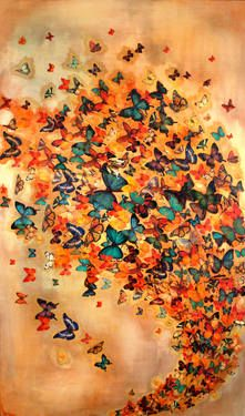 """Burnt Sienna Butterflies,"" original figurative painting by artist Lily Greenwood (UK) available at Saatchi Art #SaatchiArt"