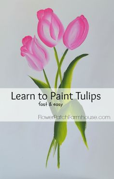 Learn to Paint Tulips–Fast and Easy - Flower Patch Farmhouse A fast & Easy tutorial on how to paint tulips in acrylics If you really like arts and crafts an individual will love our site! Tulip Painting, One Stroke Painting, Fabric Painting, Painting & Drawing, Watercolor Paintings, Painting Flowers, Watercolors, Watercolor Pencils, Encaustic Painting