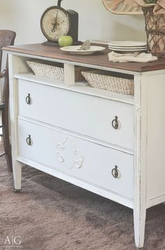 You must see the before and after of an antique dresser repurposed into a farmhouse style storage.  |  http://www.andersonandgrant.com