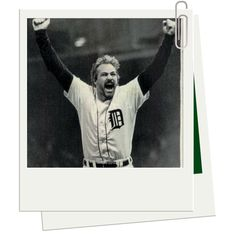 Kirk Gibson of Detroit Tigers celebrates after he hit his second home run of the game in Game Five of the 1984 World Series against the San Diego Padres October 1984 at Tiger Stadium in Detroit, Michigan. The Tigers won to take the Series in five games. 1984 World Series, Kirk Gibson, Detroit Tigers Baseball, Detroit Michigan, Sports Advertising, Tiger Stadium, Detroit History, San Diego Padres, American League