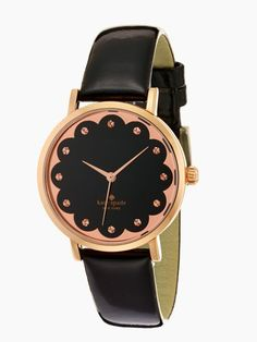 Love this Black and rose gold Kate Spade watch - the scalloped edge is so fun! http://www.katespade.com/scalloped-metro/1YRU0583,en_US,pd.html