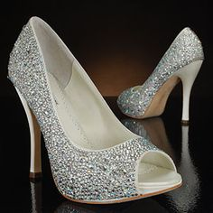 Wedding shoes with rhinestones- If they weren't $400 I'd consider them!
