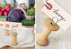 Namecard or photo holders made from vintage spools.  The spools are not permanently damaged.