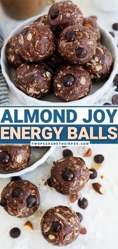 Chocolate, coconut, and almond come together to create delicious and nutritious Almond Joy Energy Balls! This bite-sized snack is what you and your kids need to get through the day. If you love Almond Joy candy bars, you will love this healthy dessert idea! Pin these sweet treats. Fun Easy Recipes, Snack Recipes, Dessert Recipes, Appetizer Recipes, Yummy Recipes, Healthy Recipes, Healthy Party Snacks, Healthy Snacks For Kids, Easy Snacks