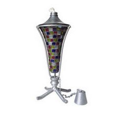 12 Inch Con Mosaic Multi Pewter #Table #Torch