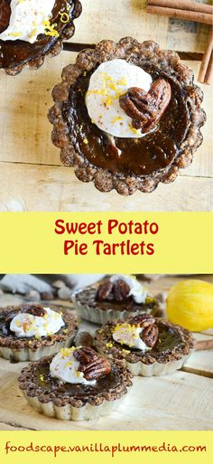 Sweet Potato Pie Tartlets - Perfect for fall gatherings and Thanksgiving! #vegan…