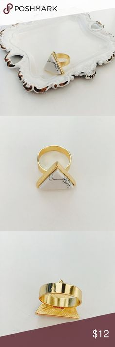 White Howlite Triangle Ring White marble Howlite triangle chunky ring, perfect for stacking and wearing to festivals. Bondhu Jewelry Rings