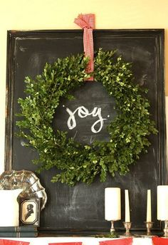 Chalkboard background with wreath