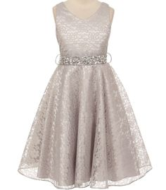 acc3e7bb5 Bellina - Silver Lace Flower Girl DressStyle MB338 - Bellina - Silver Lace Flower  Girl Dress