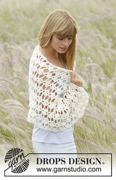 "Crochet DROPS stole with fan pattern in ""Air"". Free Pattern"