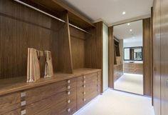 wooden walk in wardrobe