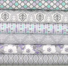 Light Purple Mint Green and Gray Cotton Quilt Fabric by fabric406