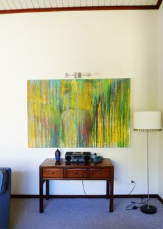 another stunning work by Kirsty Rich hanging in Claire's home above a desk in her living area. Living Area, Selling Artwork, Wall Of Fame, Sale Artwork, Hanging, Starry Night