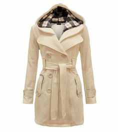 Womens Slim Double-breasted Wool Coat Overcoat Outerwear