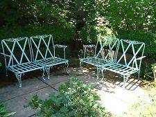Incroyable Vintage Garden/Porch/Patio WROUGHT IRON FURNITURE Chair/Settee Set Of 4.
