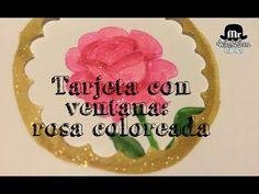 Tarjeta con ventana: rosa coloreada con rotuladores akashiya sai - YouTube