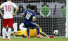 Greece's Karagounis misses a penalty kick against Poland's goalkeeper Tyton during their Group A Euro 2012 soccer match at the National stadium in Warsaw