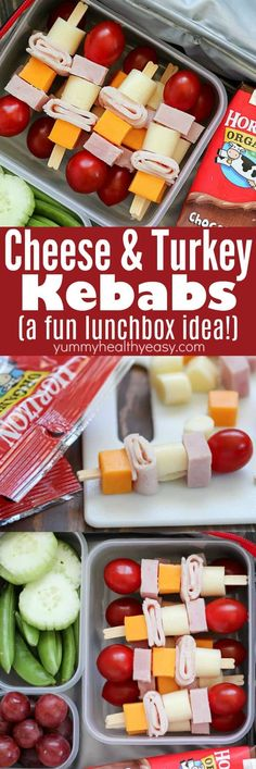 These Cheese & Turkey Kebabs are the cutest lunchbox idea for both kids AND adults! Cubed turkey and cheese are skewered onto toothpicks for a fun change up for lunch! AD