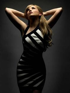 Rachael Leigh Cook in Beautiful Zebra Striped Sleeveless Tight Mini Dress Model Photoshoot Session
