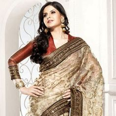 Fascinating Beige Brown Embroidered Saree