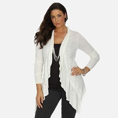 daisy fuentes® Ruffle Open-Front Cardigan - Women's Plus size $37.70 Girl Style, My Style, Skor, Daisy Fuentes, Curvy Girl Fashion, Tunic Sweater, Open Front Cardigan, Wardrobe Ideas, Cardigans For Women
