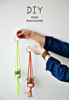 How To DIY Mini Macrame Plant Hangers - Macrame Plant Hanger - 100 Best Macrame Ideas for Hanging Plants - DIY & Crafts