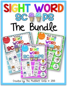 I am so happy with our new Sight Word Scoops! I know....the ice-cream scoops are out of control :) We have CVC Scoops , Math Scoops ,  Beg...