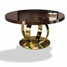 Dom Edizioni Dining Table Andrew wooden top, makassar ebony veneered, in mat, semi-gloss and gloss finish Cap Concept Monaco Luxury Furniture