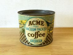 ACME Coffee Tin / Key Wind Coffee Tin / General Store / Rustic Primitive Country Kitchen Decor / Vintage Advertising / Food Can