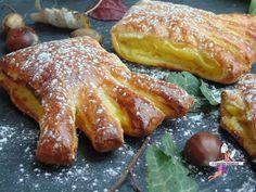 PATTES D'OURS (Pour 8 pièces : 8 pattes d'ours 2 pâtes feuilletées pré-étalées) (CREME pâtissière : 40 g de sucre, 1 jaune d'œuf, 40 cl de lait, 40 g de maïzena, 1 gousse de vanille) (DORURE : 1 œuf, 1 c à c d'extrait de vanille)