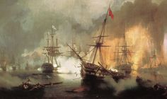 The Battle of Navarino : Ivan Aivazovsky : Romanticism : battle painting - Oil Painting Reproductions Russian Painting, Russian Art, Marine Francaise, Song Of The Sea, Ship Paintings, Seascape Art, Nautical Art, Art Database, Romanticism