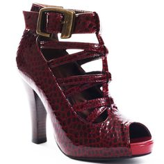 Garnet colored peep toe heel