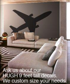 Vinyl Wall Art Decal Airplane Airline Air Plane 737 | stickerbrand - Housewares on ArtFire