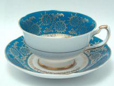 Royal Grafton 4 Vintage Fine Bone China Tea Cup and Saucer Turquoise Blue Starburst Snowflake Gold Trim