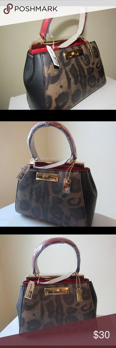 Aldo Mini Bag Animal Print and Red Statement Aldo clutch. NWT Never Used! Very mini bag with one handle. Great for a night out! Holds as much as a clutch would. Aldo Bags Mini Bags