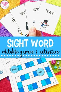 Your students will love my fun and engaging Sight Word Games resource, which is editable! There are 4 different ways that this resource can be used, which adds variety to your elementary literacy stations. Since it is editable, you can also easily differentiate the activities based on each students' individual needs and literacy skills. There are 12 different themes for each month of the year. Sight Word Games, Sight Word Activities, Activities To Do, Literacy Activities, Sight Words, Literacy Stations, Literacy Skills, Literacy Centers, Game Resources